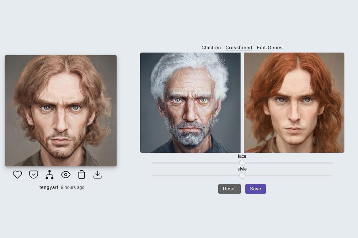 Пример перекрёстного скрещивания (Crossbreed) фото для профиля в нейросети Artbreeder и инструкция по бесплатному созданию портретов онлайн