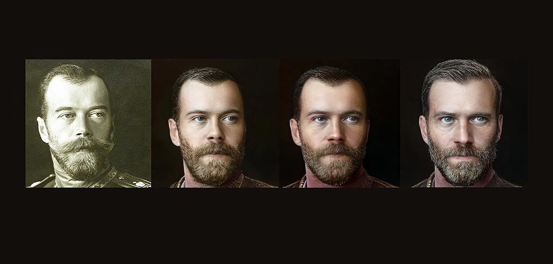 Процесс создания портрета Николая 2 Романова в нейросети Artbreeder