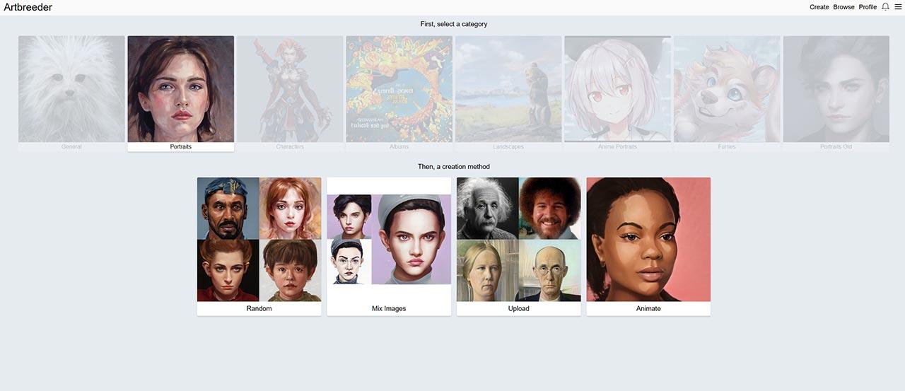 бесплатный генератор картинки на аватарку (варианты создания портретов онлайн в нейросети Artbreeder)