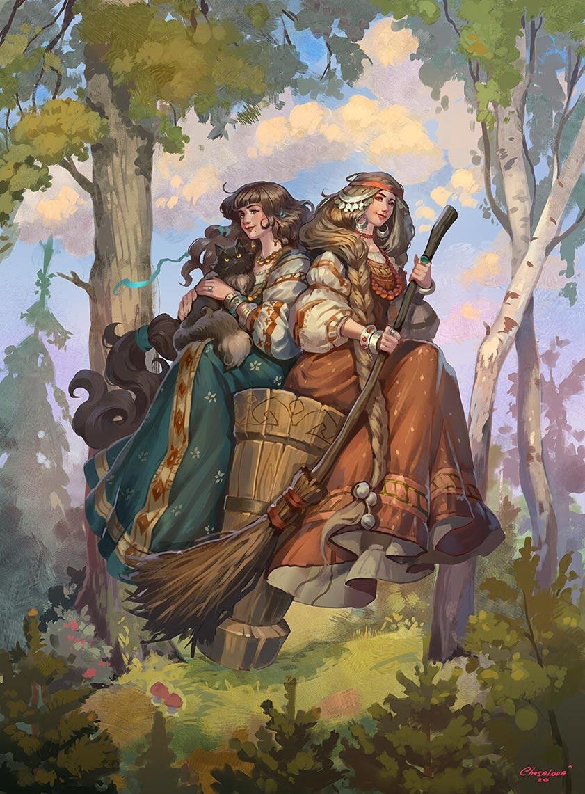 Русские молодые ведьмы летают на метле и ступе (волшебный арт от художницы Ekaterina Chesalova)