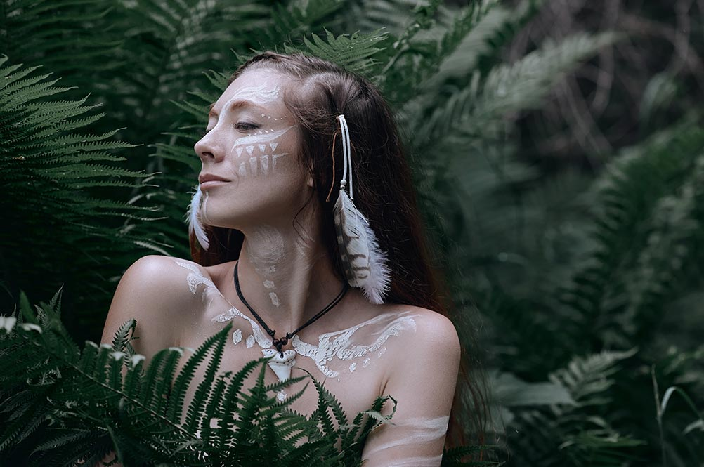 1 gloomy wiccan portrait of a girl in the woods in high resolution (stock pagan photography in forest)