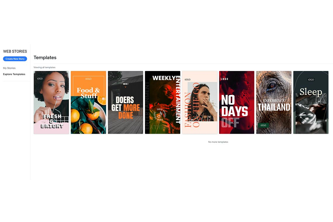 Заготовки историй в Dashboard бета-версии Web Stories