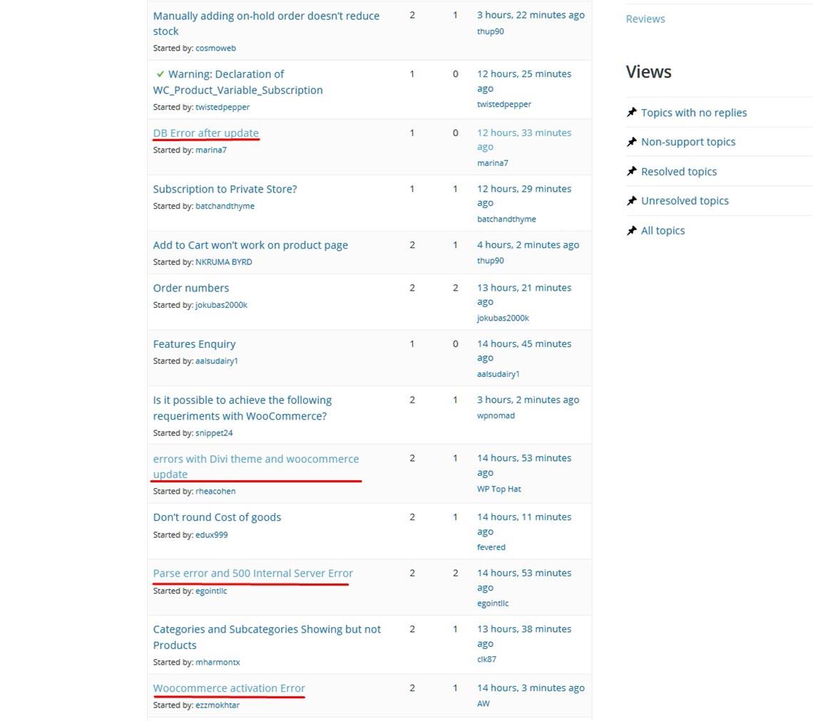 Количество жалоб на поломку сайта после обновления WooCommerce до версии 4.4.1