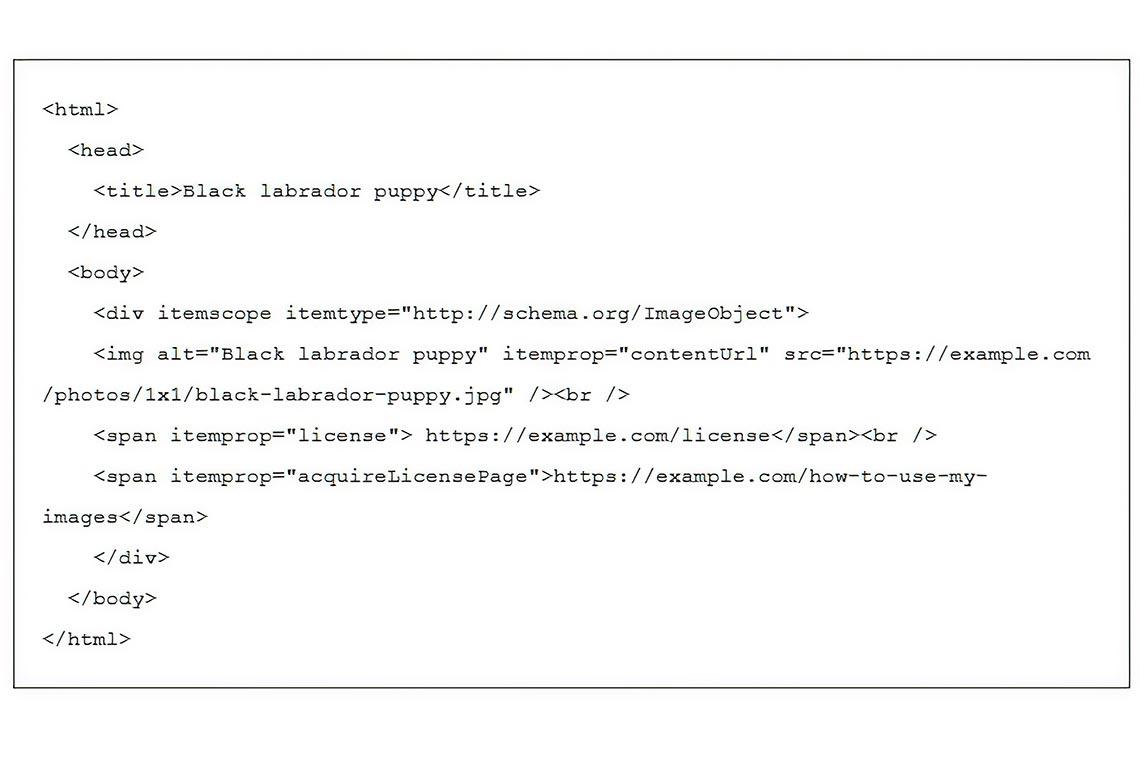 Лицензирование фото и артов в Гугле с помощью микроданных (тестовый пример)