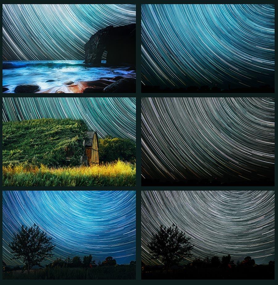 Мрачные фоны с пейзажами и звёздными треками для дизайна (6 примеров в 1 картинке)