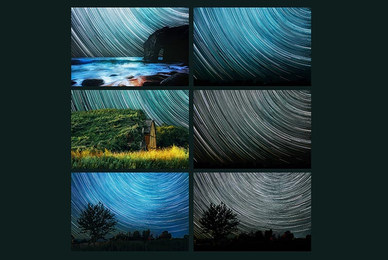 6 фонов со звёздными треками для дизайна и чехлов смартфонов - примеры фотографий на тёмно-зелёном фоне