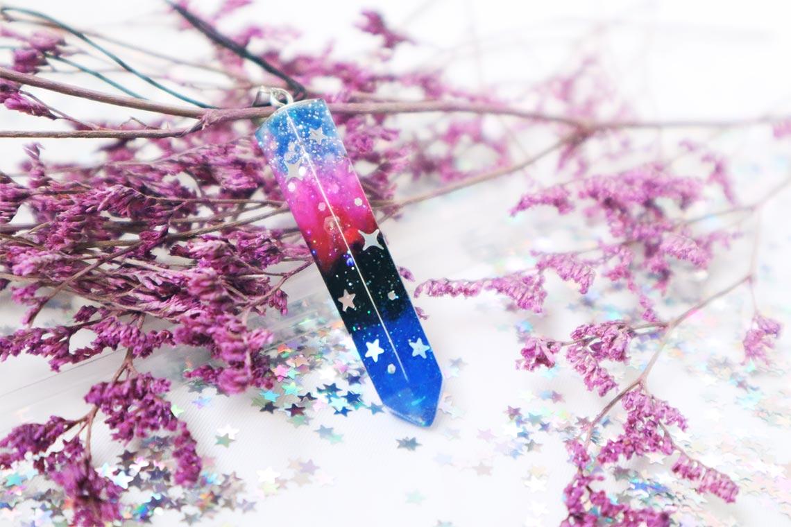 Космические кристаллы из эпоксидной смолы (украшения ручной работы в подарок для девушки)
