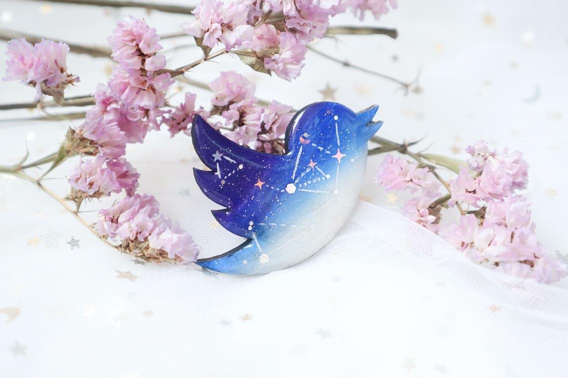 Символ Твиттера в форме птицы (украшение ручной работы из эпоксидной смолы на заказ в Приморском крае)