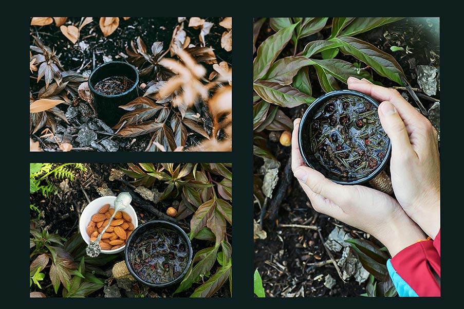 Травяной чай с лесными ягодами в чёрной кружке (3 фона для соцсетей)