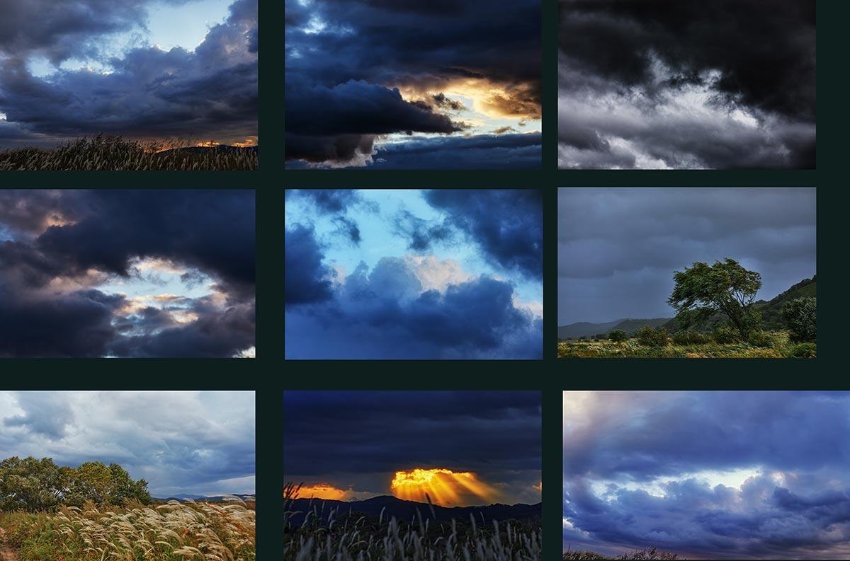 Фото неба и шторма, мрачные стоковые облака (9 кадров для блога, дизайна и фотошопа)