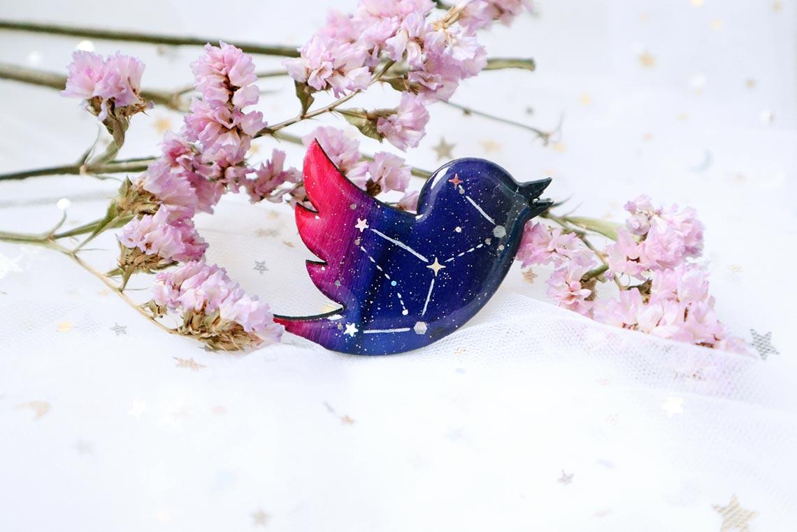 хендмейд украшения из смолы в форме логотипа твиттера