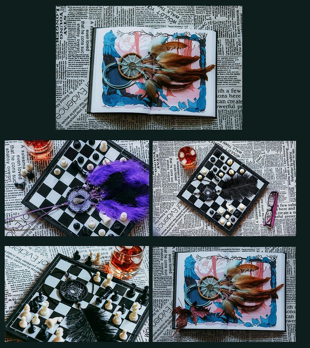 5 фонов с ловцами снов, книгами и шахматами для дизайна, блога и оформления соцсетей