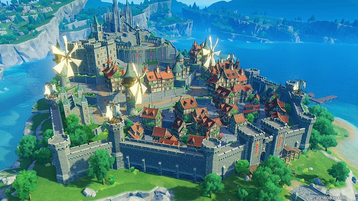 Вид на Мондштадт с высоты (игра Genshin Impact)
