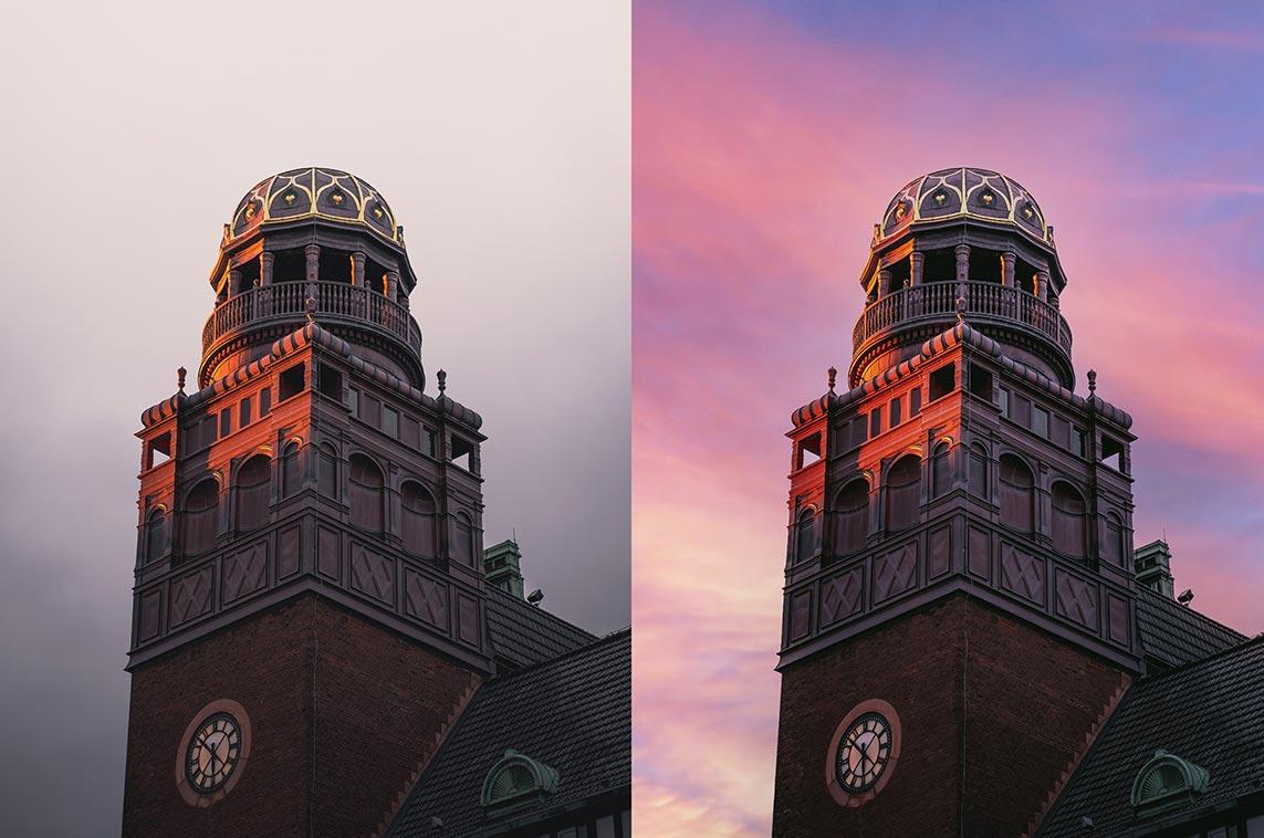 Возможности инструмента Sky Replacement в Adobe Photoshop 2021 - пример фото до и после обработки