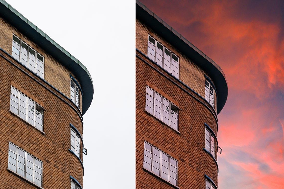 Фото до и после использования инструмента замена неба