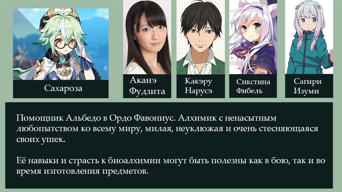 Сахароза из Ордо Фавониус (игра Genshin Impact) - сэйю и другие подробности о персонаже
