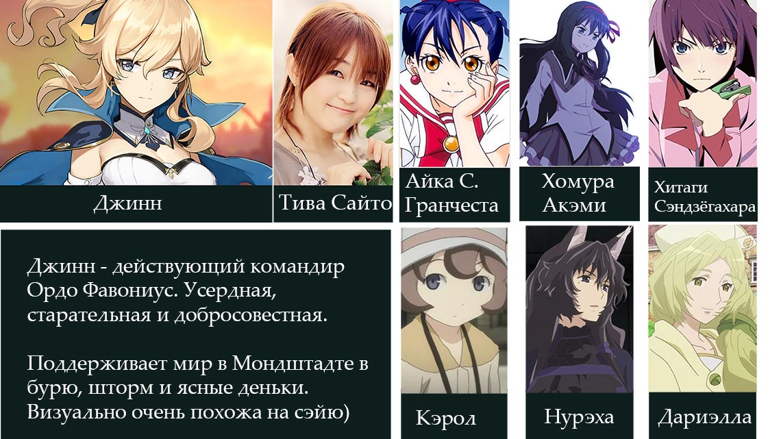 Тива Сайто Cэйю Джинн в Genshin Impact и её лучшие роли в аниме (Хомура Акэми, Нурэха, Дариэлла)