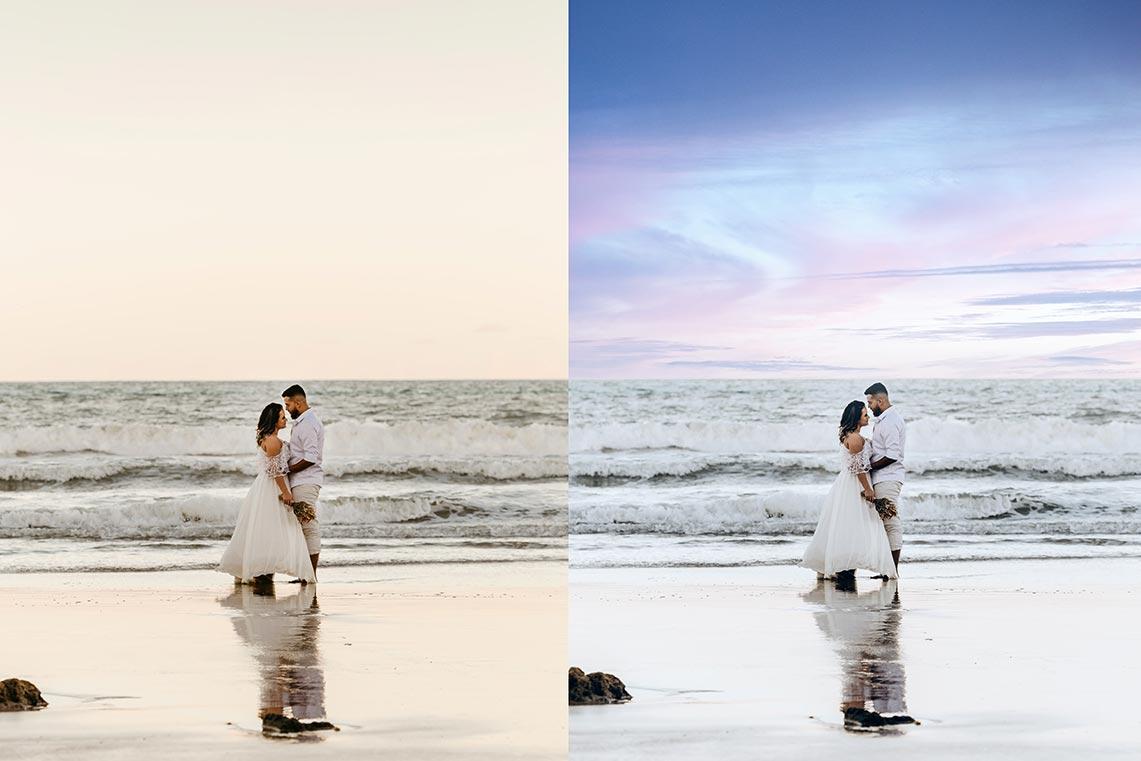 Как разнообразить свадебные фото у моря? Снимок до и после замены неба