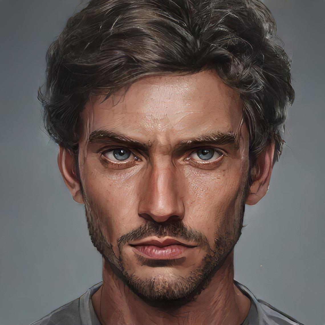 Мужчкой портрет и аватарка для инстаграм в нейросети Artbreeder