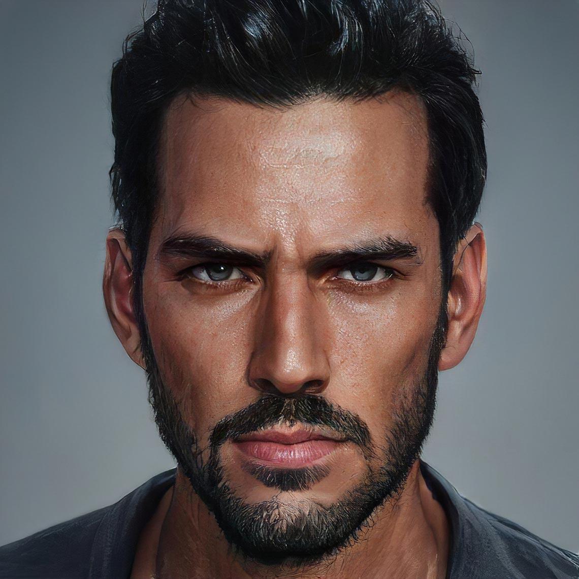 Портрет мужчины, сделанный с помощью нейросети Artbreeder