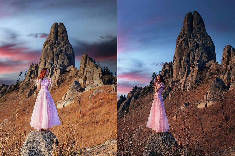Рыжая девушка в горах (2 фона) | Redhead woman in mountains