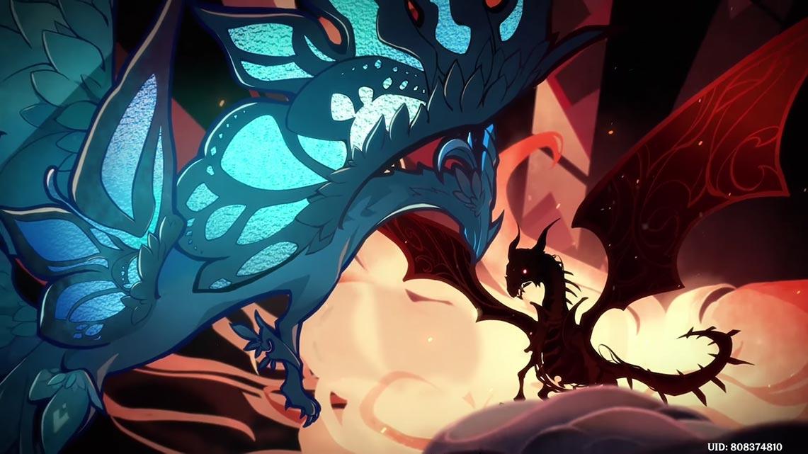 Битва Двалина (Ужаса Бури) с Дурином (чёрным драконом) из игры Genshin Impact