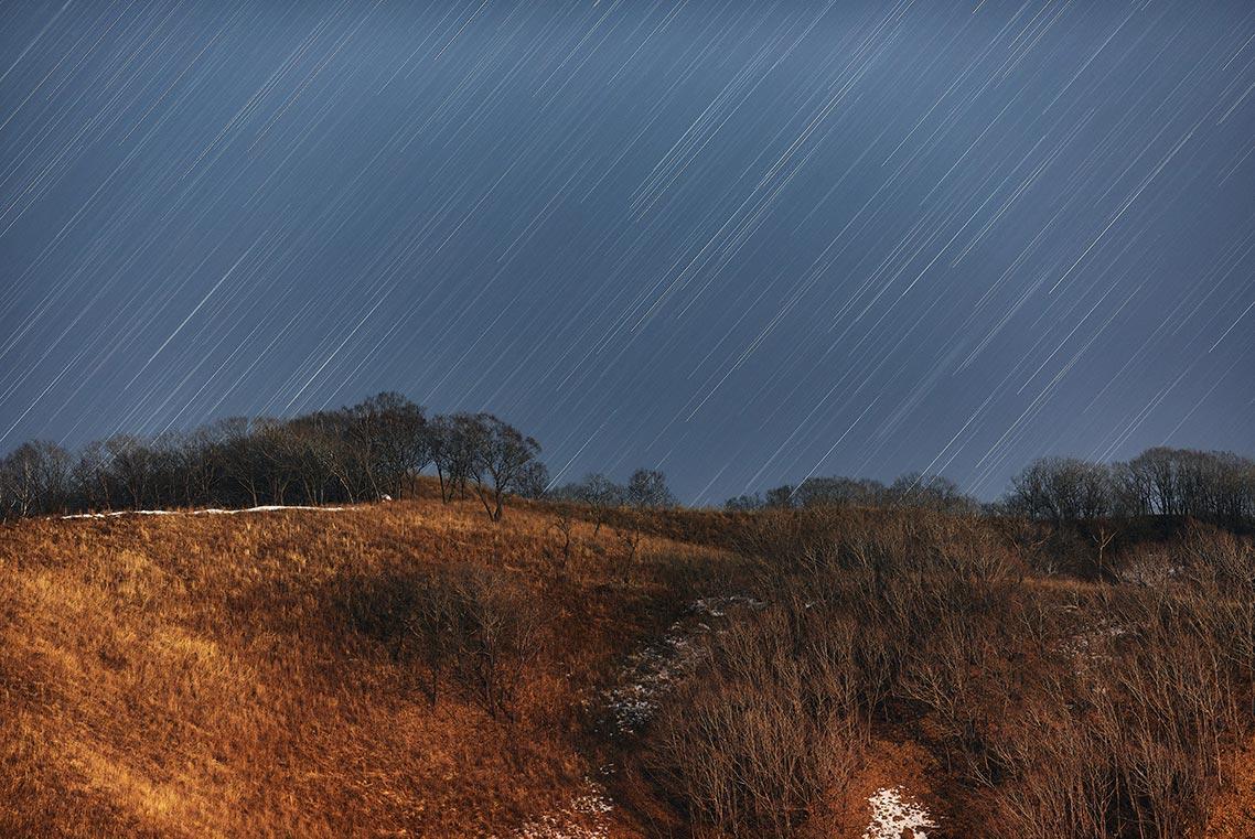 Фото звёздных треков в горах Приморья