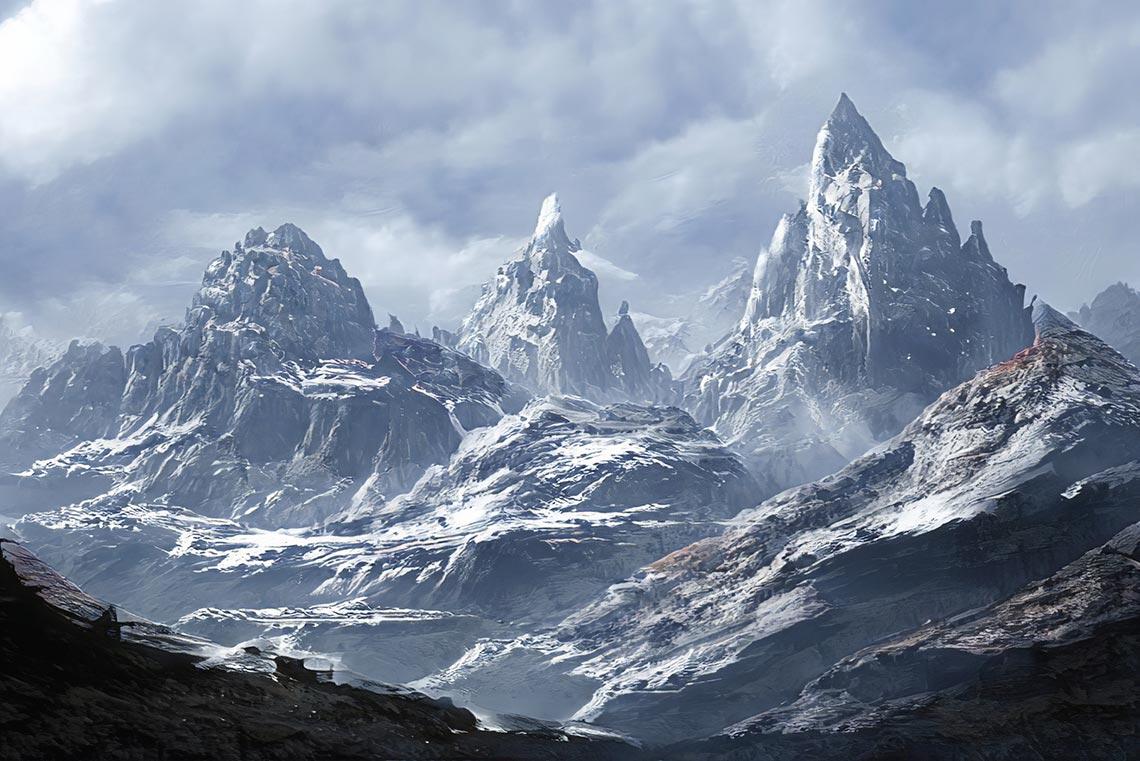Пример заснеженных гор, созданных в нейронной сети