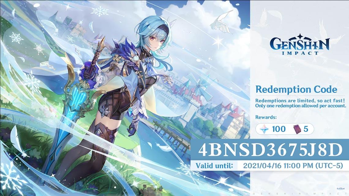 Промокоды из игры Genshin Impact в апреле 2021 года