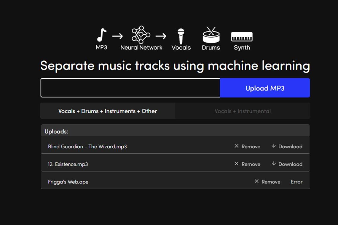 Разделение музыки онлайн в melody - веб-версии нейросети Spleeter (2021 год)
