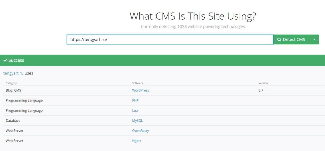 Распознавание сайтов на WordPress онлайн в 2021 (пример)