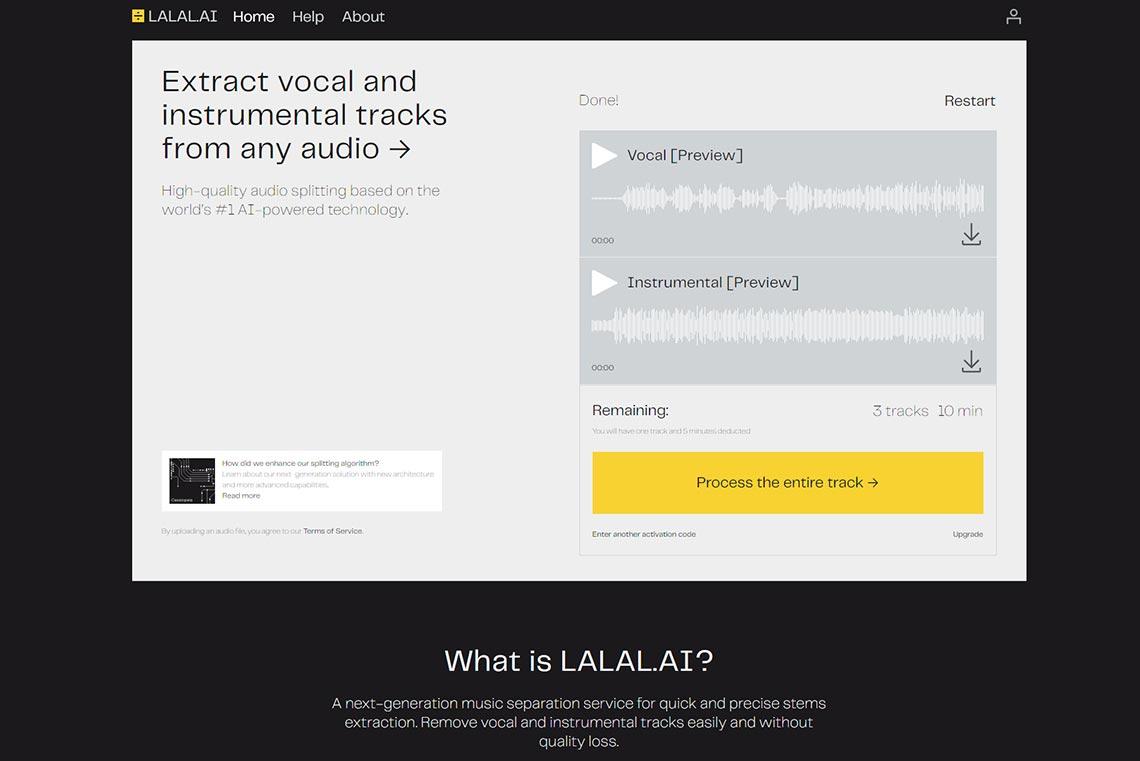 Разделить голос и музыку онлайн можно с помощью нейросети Lalal.ai (пример)
