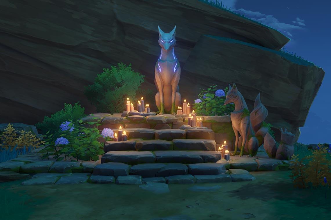 """Квест """"Жертвоприношение"""" в Инадзуме - местонахождение статуи лисицы"""