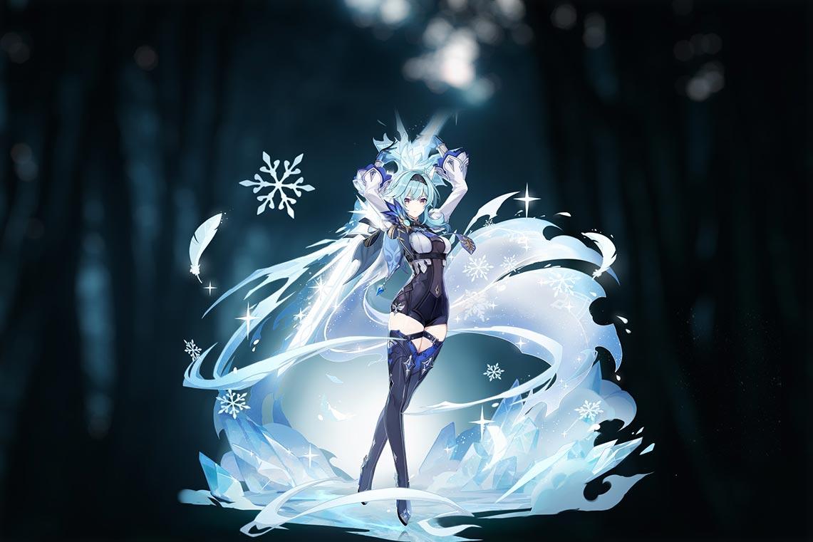 Эола - персонаж Genshin Impact (официальный арт с изменённым фоном)